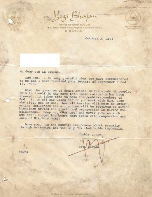 October 2, 1973 Letter from Yogi Bhajan