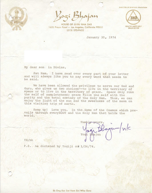 January 30, 1974 Letter from Yogi Bhajan