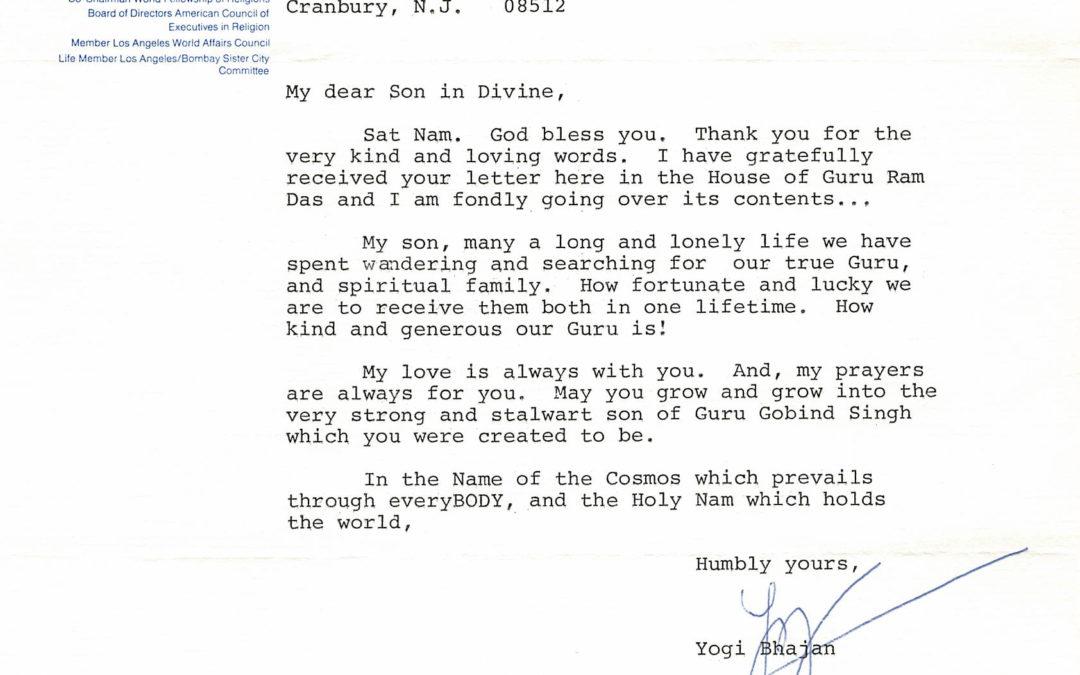 Letter from Yogi Bhajan – September 1, 1980