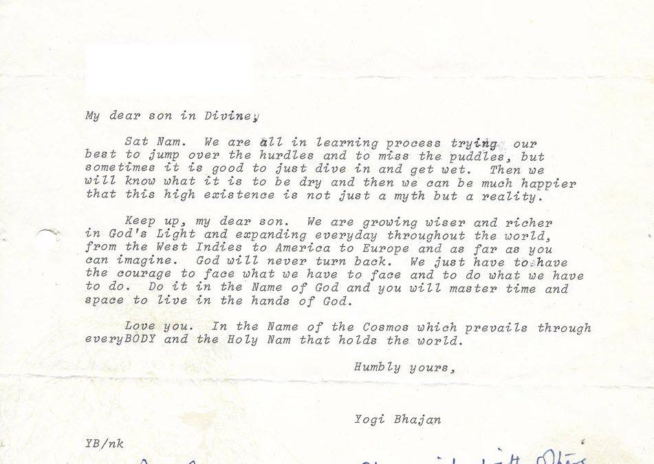 Letter from Yogi Bhajan:  My Dear Son in Divine – April 22, 1974